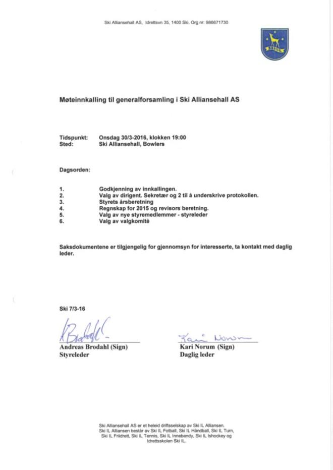 Invitasjon til generalforsamling Ski Alliansehall 2016