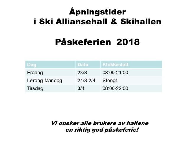 Åpningstider påskeferien 2018