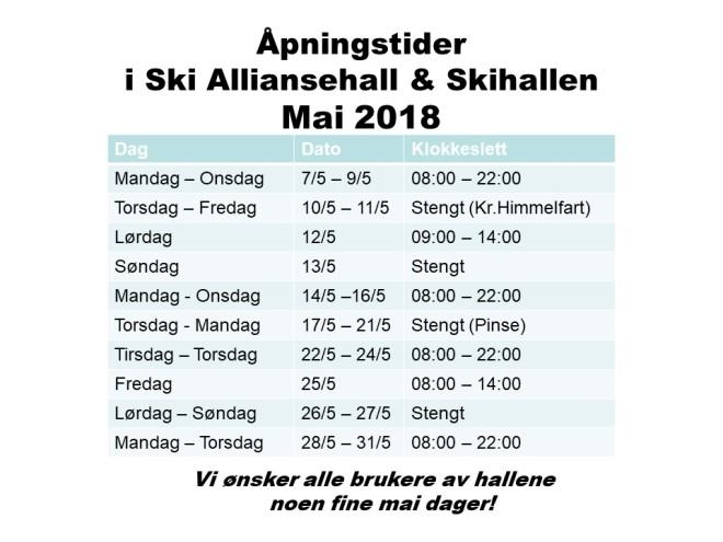 Åpningstider i mai 2018