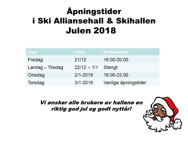 Åpningstider julen 2018